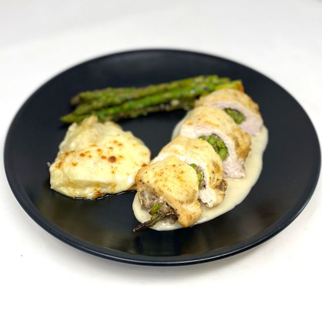 Duxelles and Asparagus Filled Chicken Breast